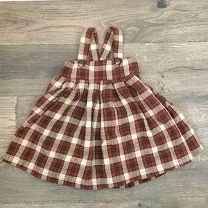 H&M little girl plaid overall dress
